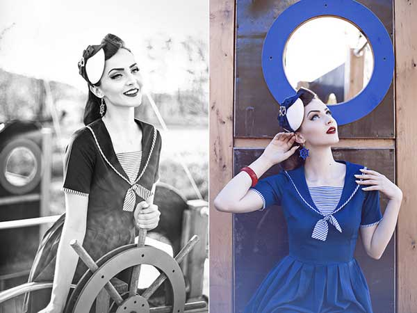Idda van Munster mit einem Sailor Fascinator von Antia : Hut Mode