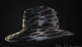 Fedora in Stahlblau Melusin Animalprint