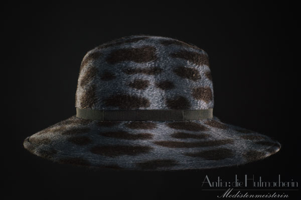 Fedora in Stahlblau Melusin Animalprint